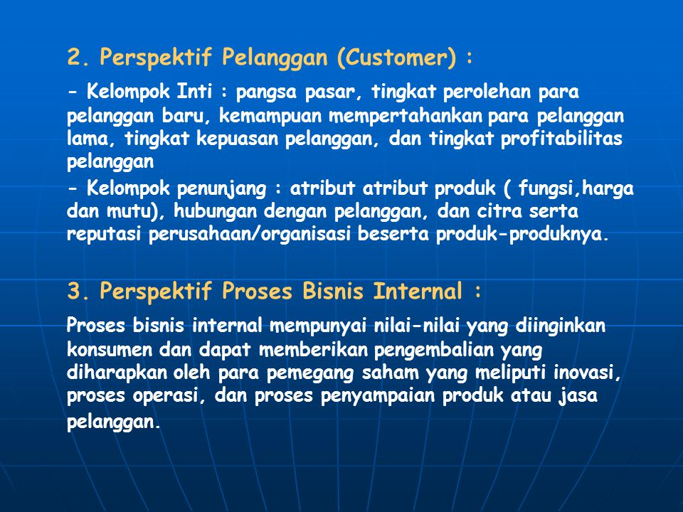 2. Perspektif Pelanggan (Customer) :
