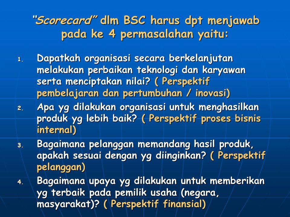 Scorecard dlm BSC harus dpt menjawab pada ke 4 permasalahan yaitu: