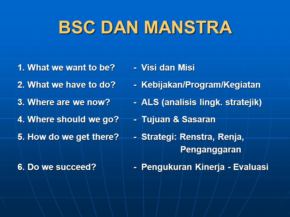 BSC DAN MANSTRA 1. What we want to be - Visi dan Misi