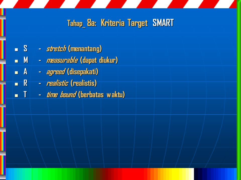 Tahap 8a: Kriteria Target SMART