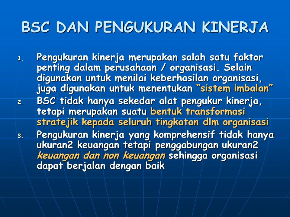 BSC DAN PENGUKURAN KINERJA