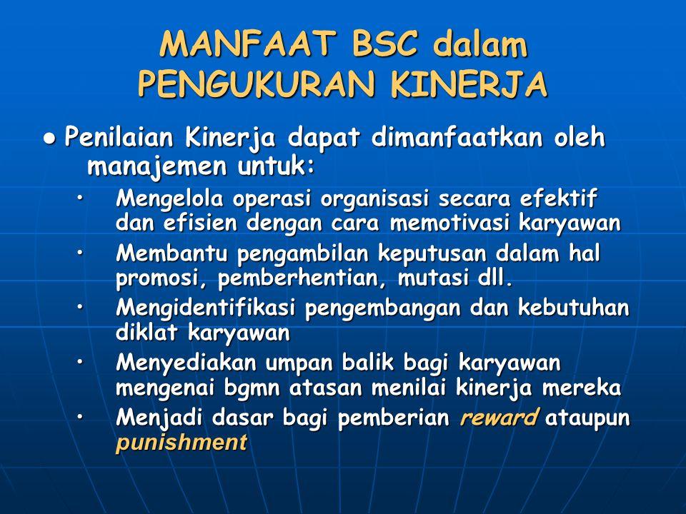 MANFAAT BSC dalam PENGUKURAN KINERJA