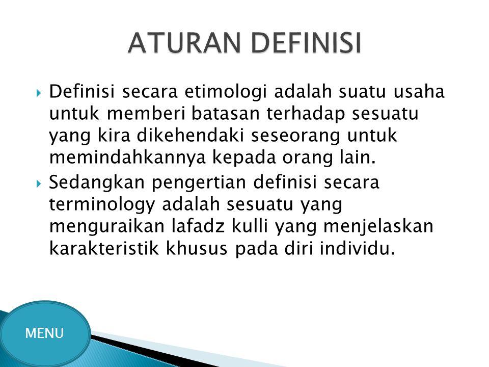 ATURAN DEFINISI