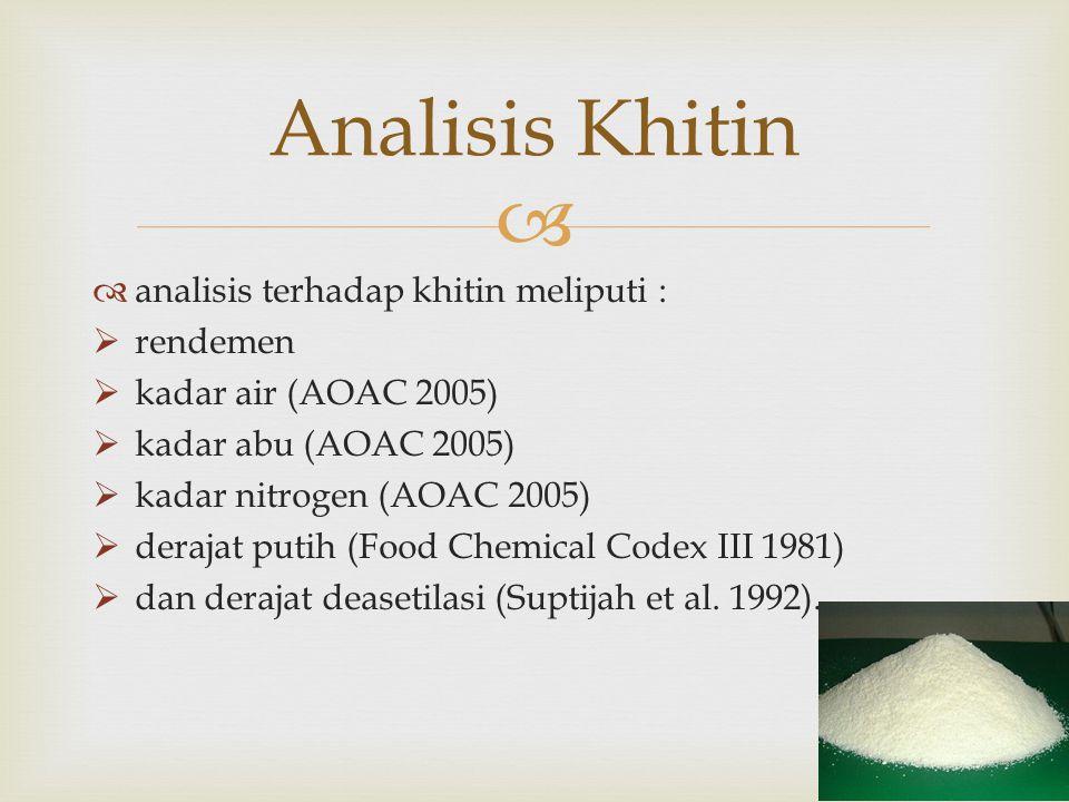 Analisis Khitin analisis terhadap khitin meliputi : rendemen