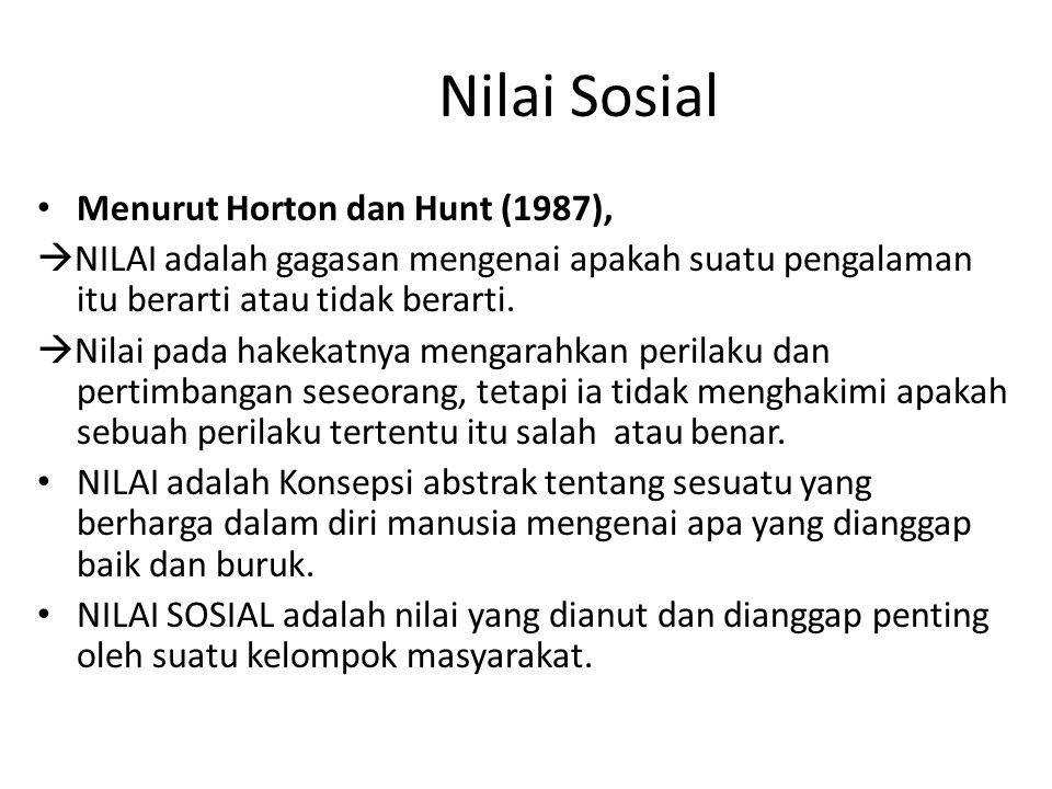 Nilai Sosial Menurut Horton dan Hunt (1987),