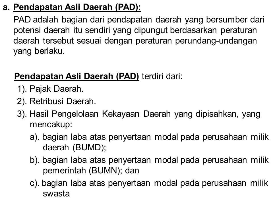 Pendapatan Asli Daerah (PAD):