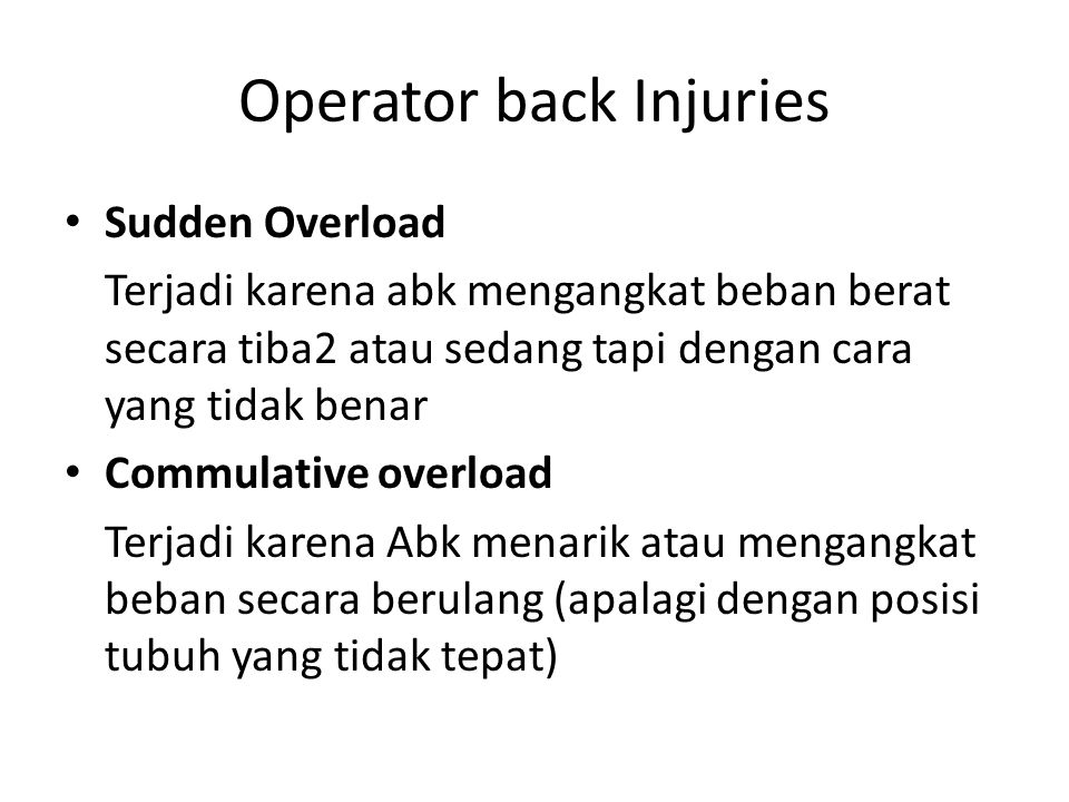 Operator back Injuries