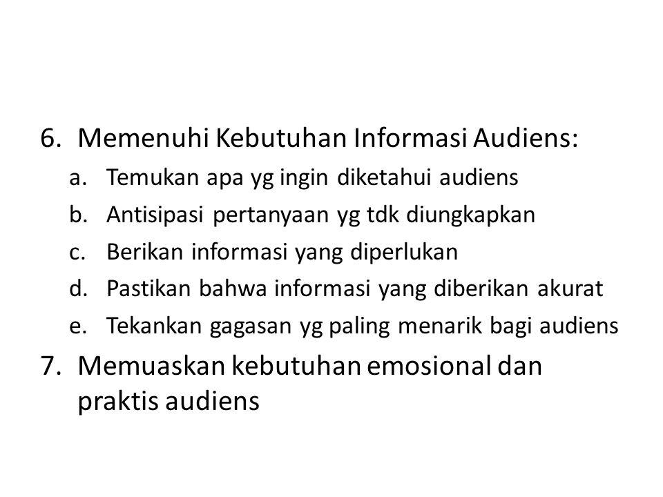 Memenuhi Kebutuhan Informasi Audiens: