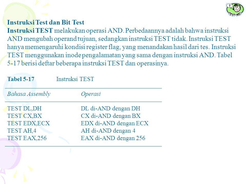 Instruksi Test dan Bit Test