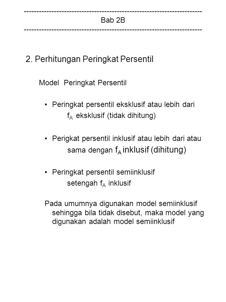 2. Perhitungan Peringkat Persentil