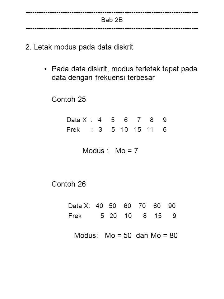 2. Letak modus pada data diskrit