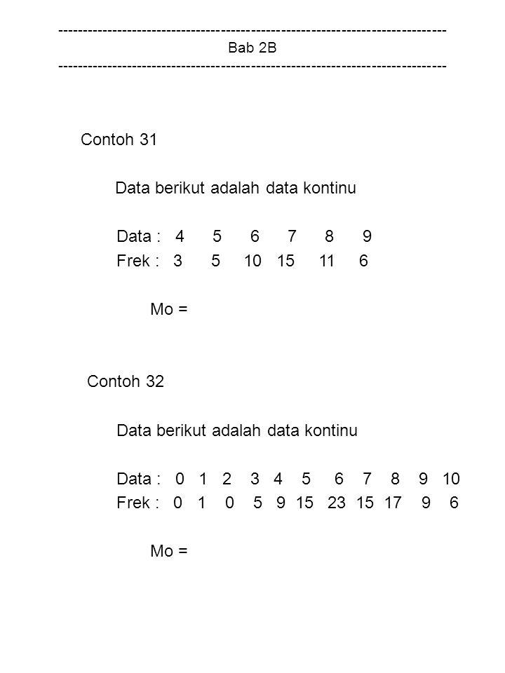 Data berikut adalah data kontinu Data : 4 5 6 7 8 9