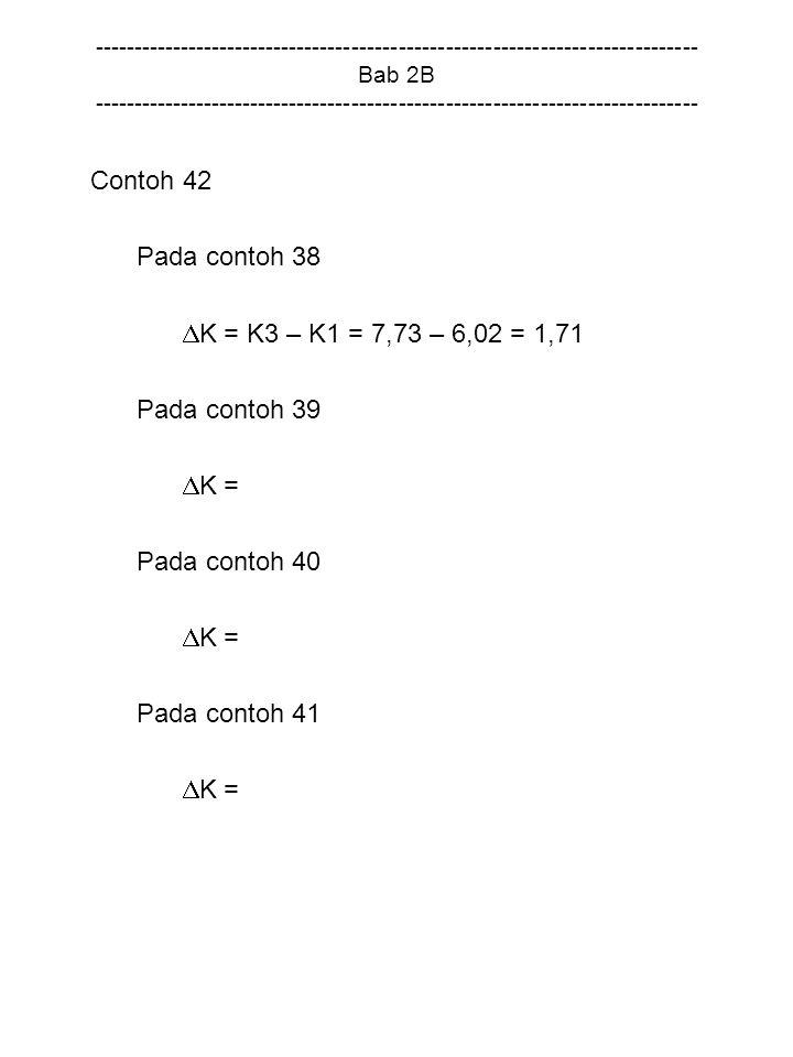 Contoh 42 Pada contoh 38 K = K3 – K1 = 7,73 – 6,02 = 1,71