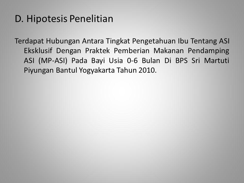 D. Hipotesis Penelitian