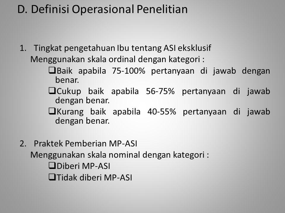 D. Definisi Operasional Penelitian