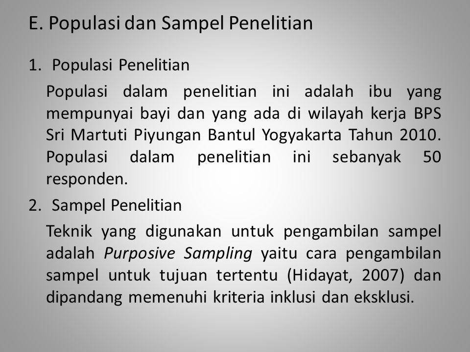E. Populasi dan Sampel Penelitian