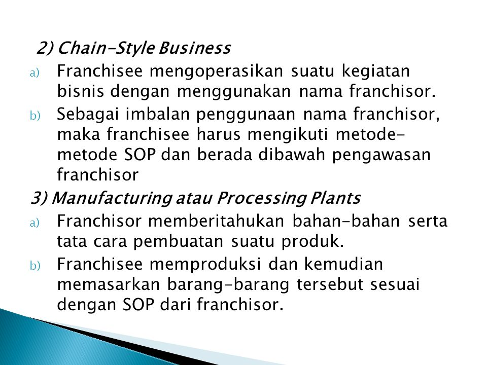 2) Chain-Style Business