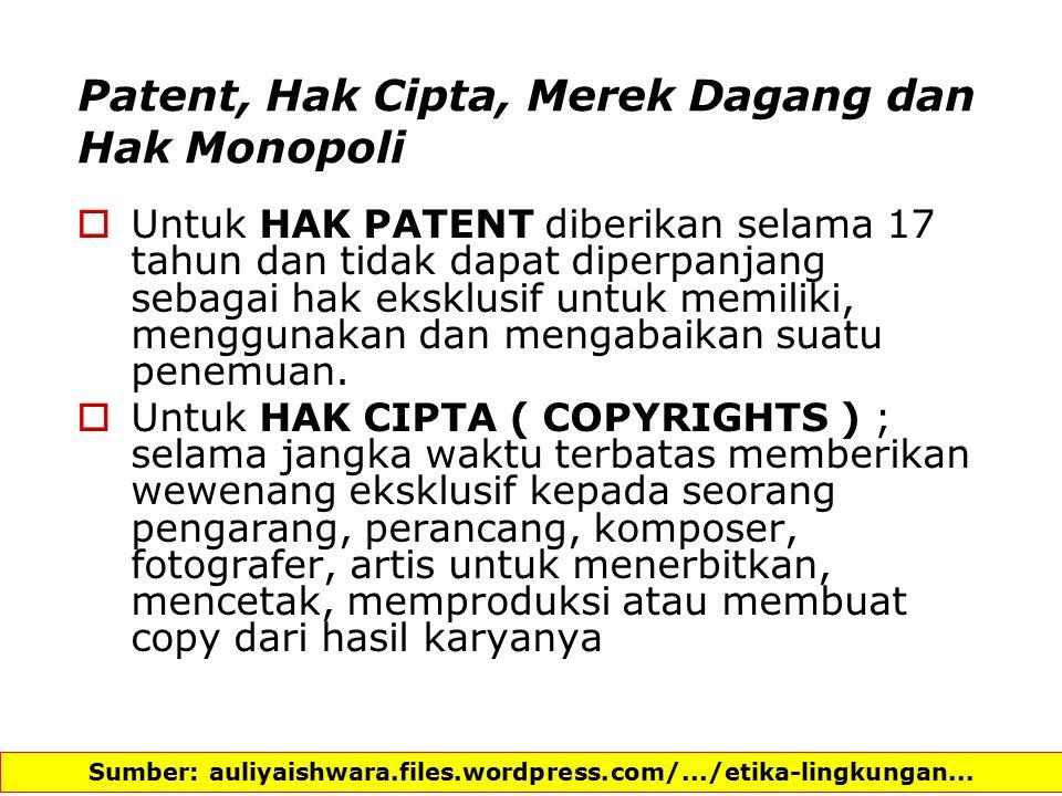 Patent, Hak Cipta, Merek Dagang dan Hak Monopoli
