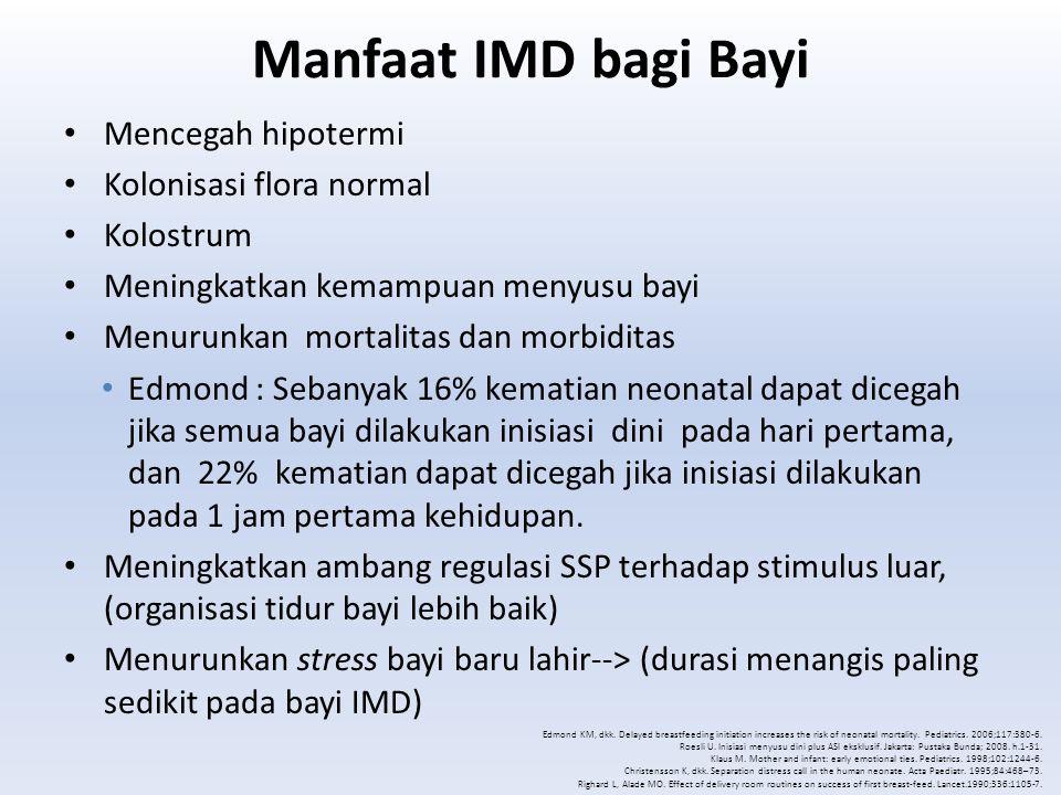Manfaat IMD bagi Bayi Mencegah hipotermi Kolonisasi flora normal