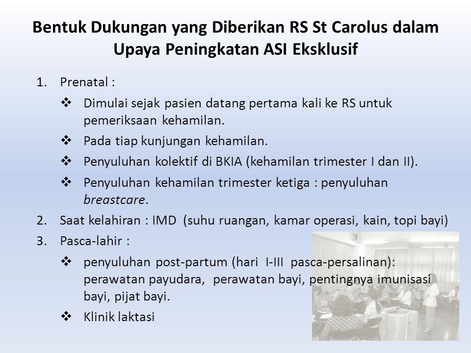 Bentuk Dukungan yang Diberikan RS St Carolus dalam Upaya Peningkatan ASI Eksklusif