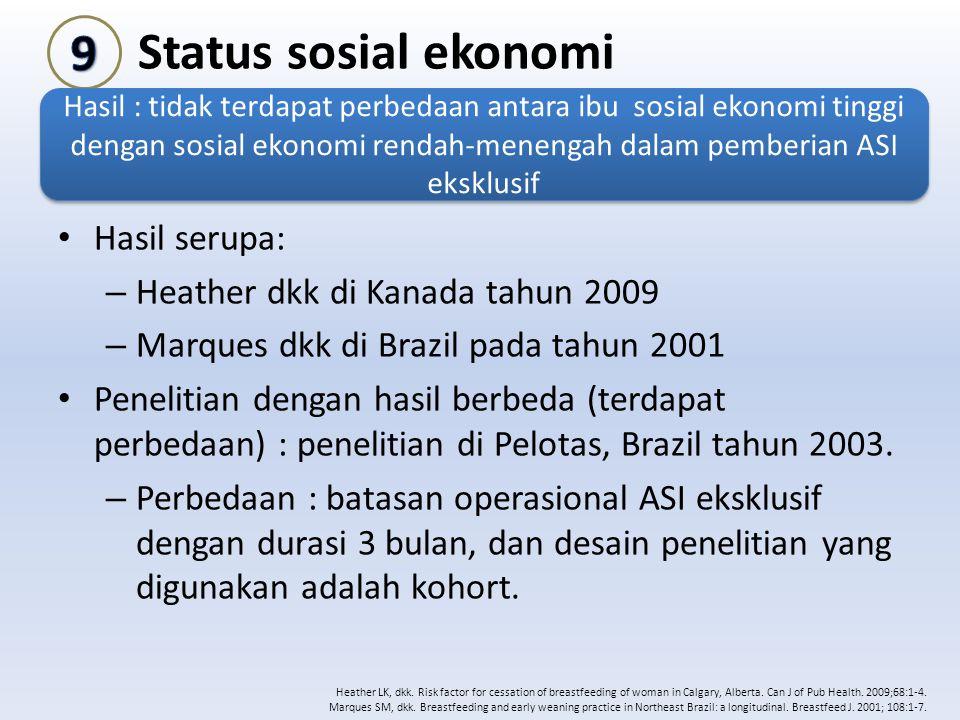 9 Status sosial ekonomi Hasil serupa: Heather dkk di Kanada tahun 2009