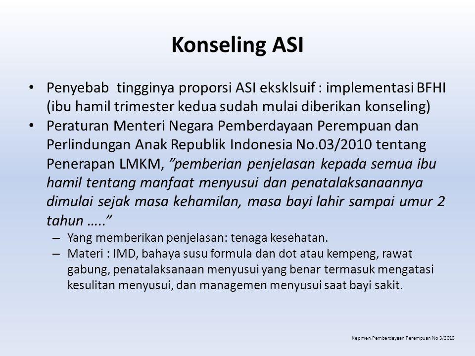 Konseling ASI Penyebab tingginya proporsi ASI eksklsuif : implementasi BFHI (ibu hamil trimester kedua sudah mulai diberikan konseling)