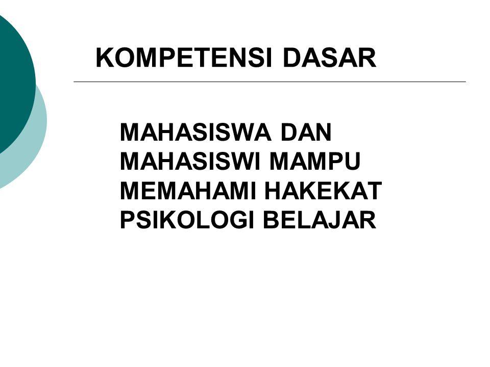 KOMPETENSI DASAR MAHASISWA DAN MAHASISWI MAMPU MEMAHAMI HAKEKAT PSIKOLOGI BELAJAR