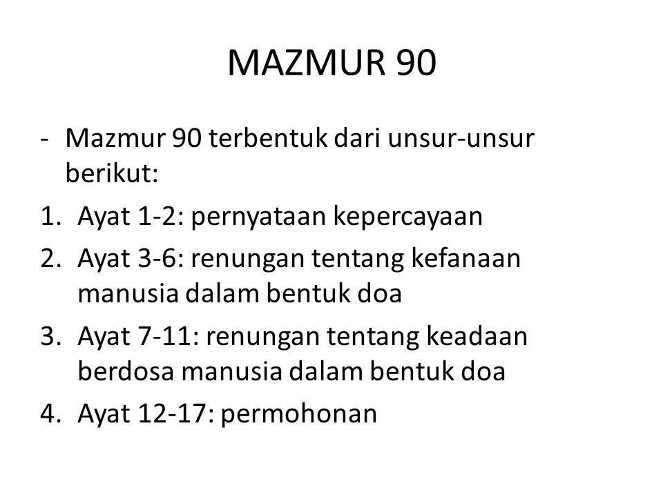 MAZMUR 90 Mazmur 90 terbentuk dari unsur-unsur berikut:
