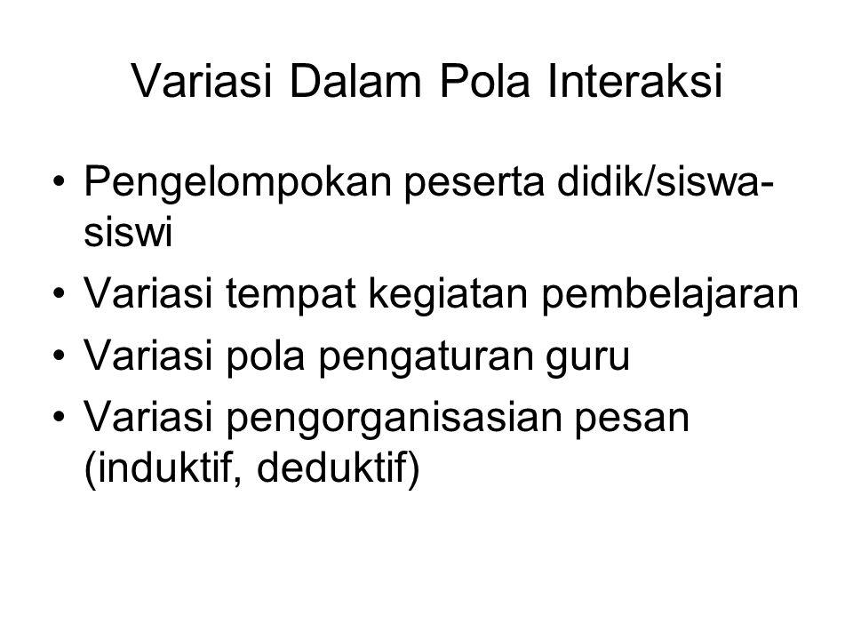 Variasi Dalam Pola Interaksi