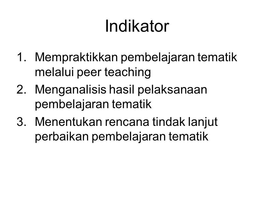 Indikator Mempraktikkan pembelajaran tematik melalui peer teaching