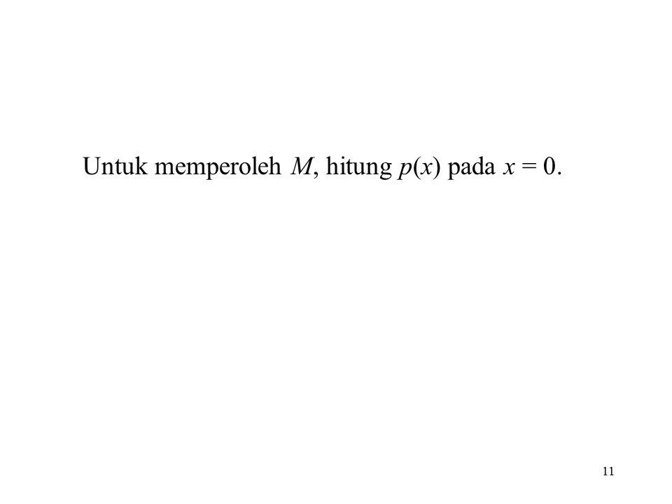 Untuk memperoleh M, hitung p(x) pada x = 0.