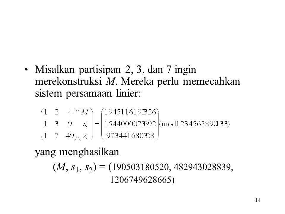 Misalkan partisipan 2, 3, dan 7 ingin merekonstruksi M