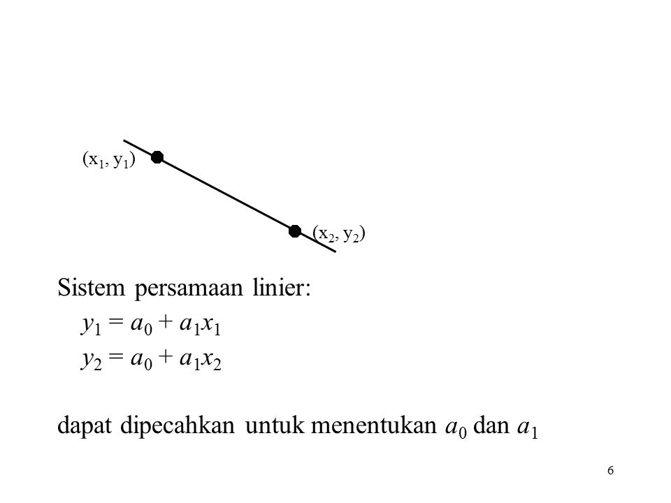Sistem persamaan linier: y1 = a0 + a1x1 y2 = a0 + a1x2