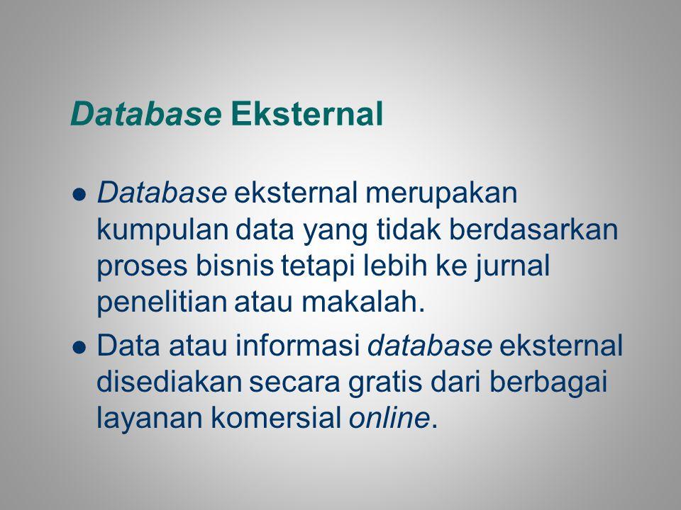 Database Eksternal Database eksternal merupakan kumpulan data yang tidak berdasarkan proses bisnis tetapi lebih ke jurnal penelitian atau makalah.