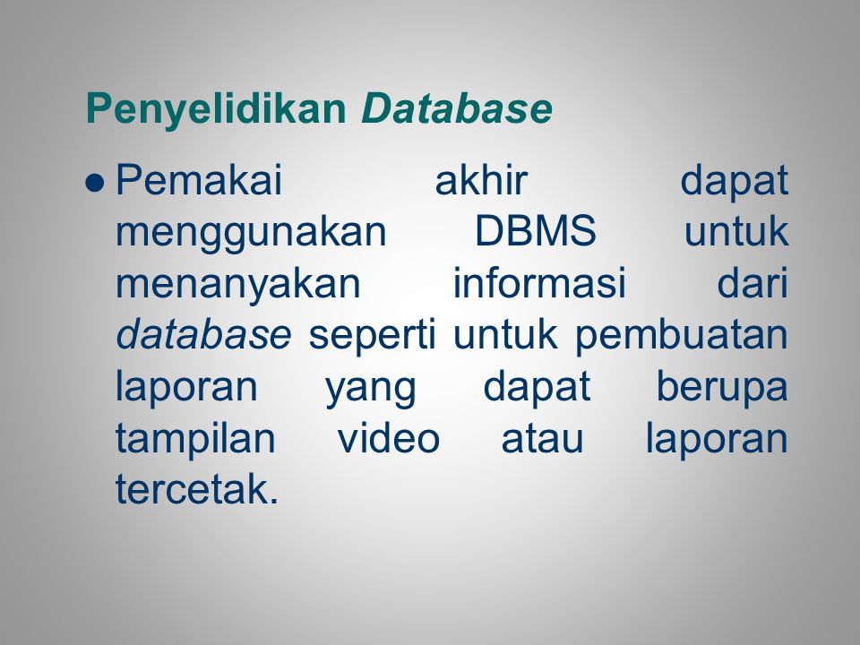 Penyelidikan Database