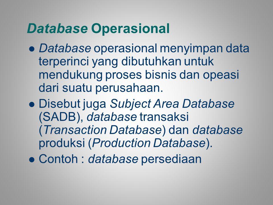 Database Operasional Database operasional menyimpan data terperinci yang dibutuhkan untuk mendukung proses bisnis dan opeasi dari suatu perusahaan.