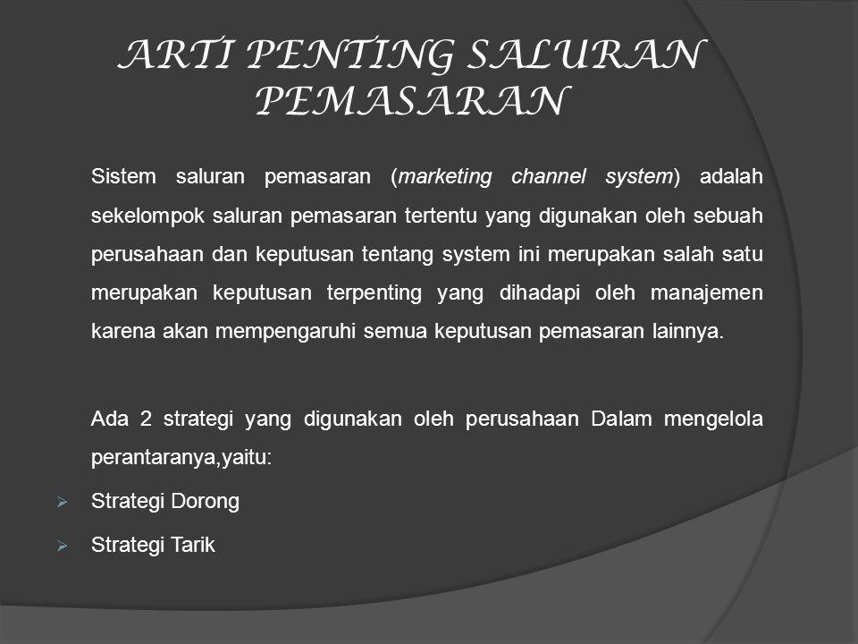 ARTI PENTING SALURAN PEMASARAN