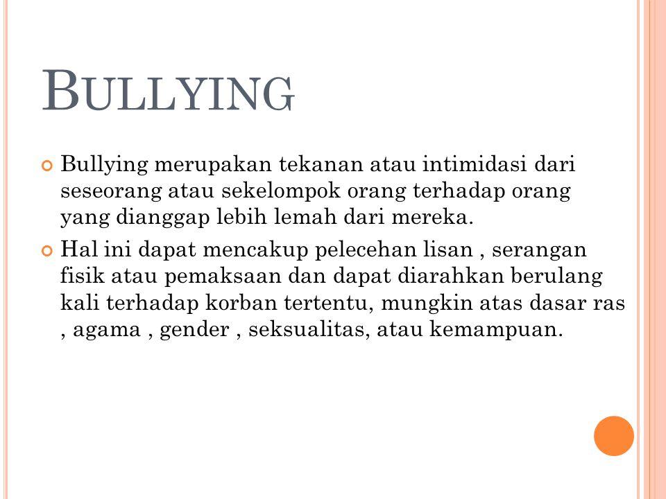 Bullying Bullying merupakan tekanan atau intimidasi dari seseorang atau sekelompok orang terhadap orang yang dianggap lebih lemah dari mereka.