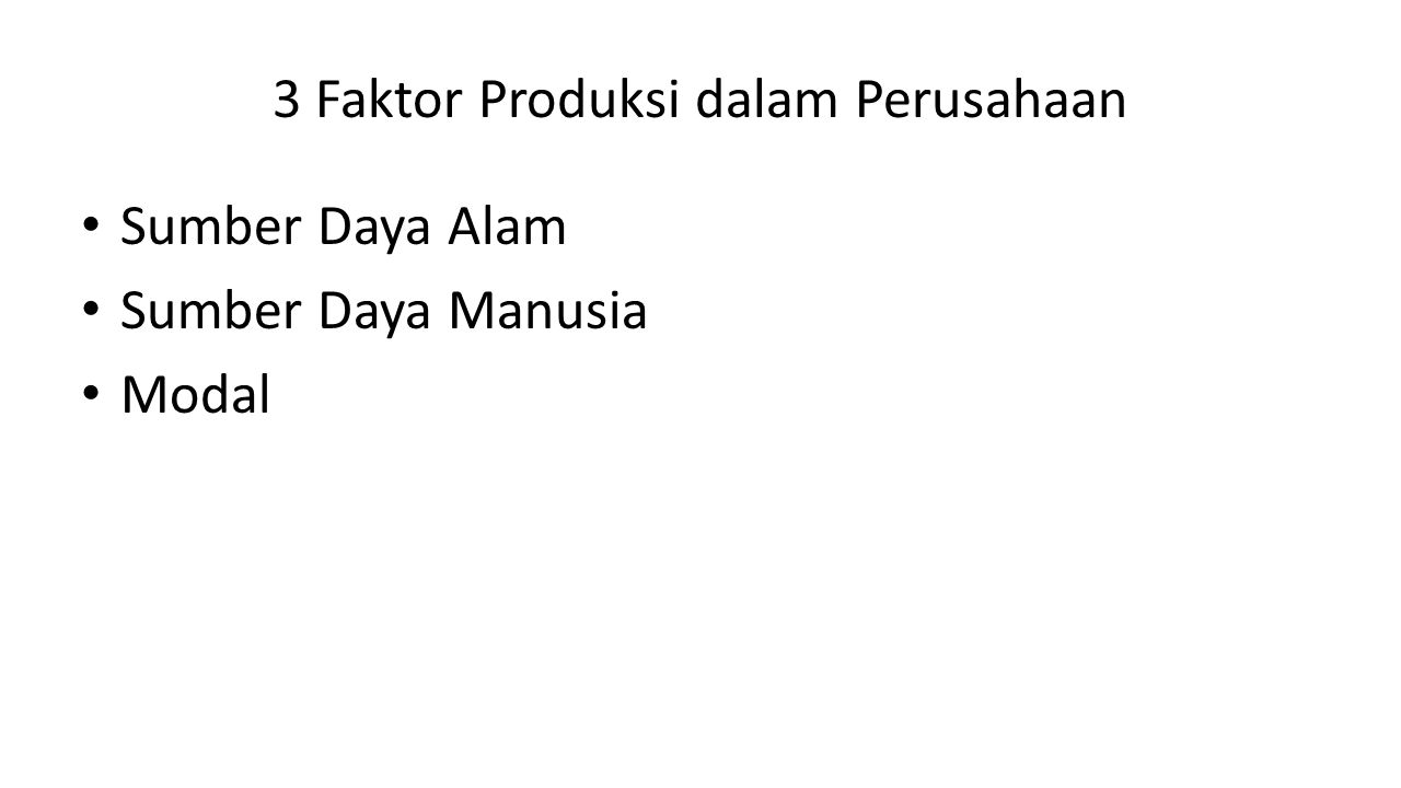 3 Faktor Produksi dalam Perusahaan