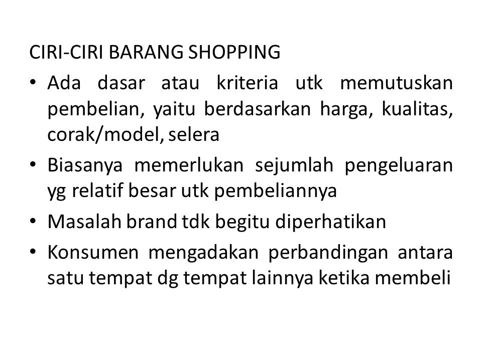 CIRI-CIRI BARANG SHOPPING
