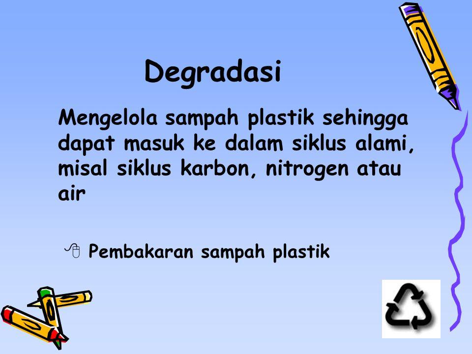 Degradasi Mengelola sampah plastik sehingga dapat masuk ke dalam siklus alami, misal siklus karbon, nitrogen atau air.