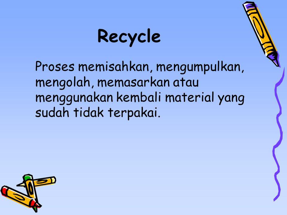 Recycle Proses memisahkan, mengumpulkan, mengolah, memasarkan atau menggunakan kembali material yang sudah tidak terpakai.