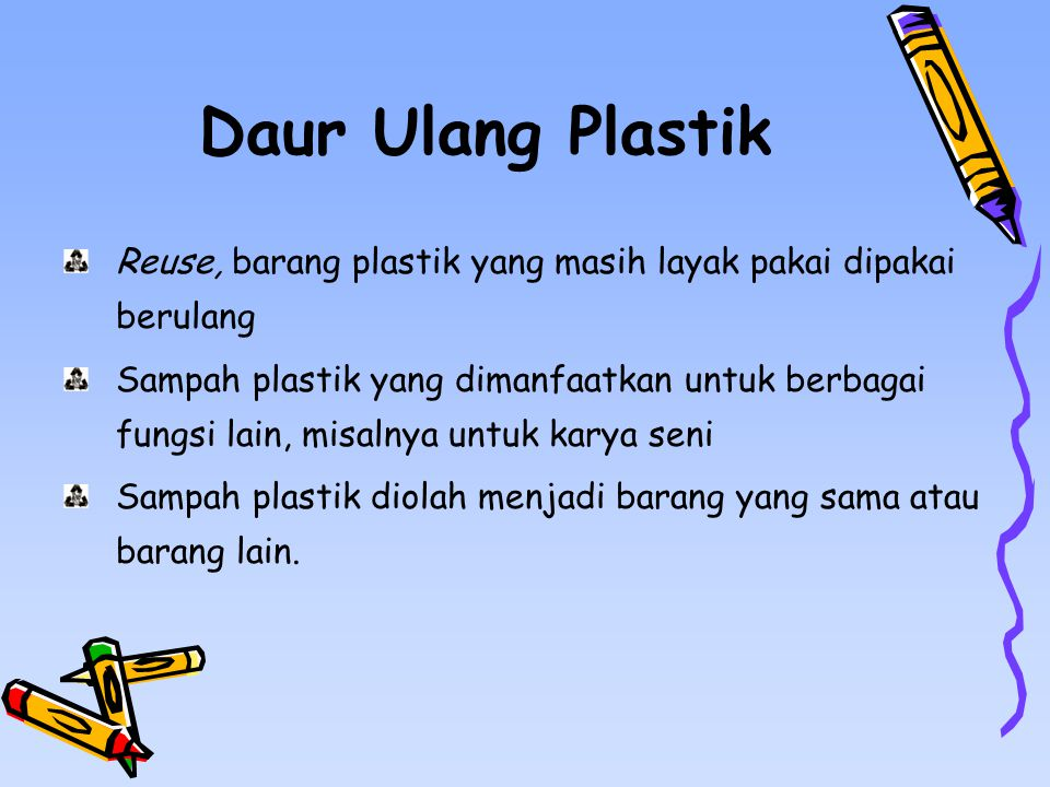 Daur Ulang Plastik Reuse, barang plastik yang masih layak pakai dipakai berulang.