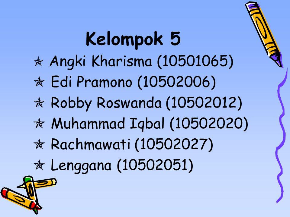 Kelompok 5 Edi Pramono (10502006) Robby Roswanda (10502012)