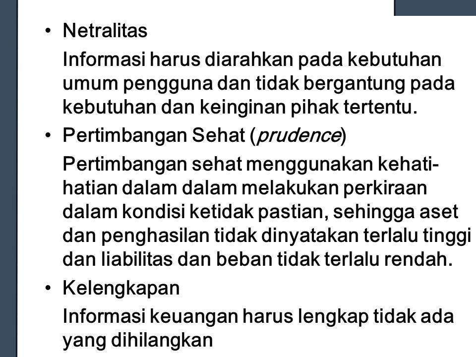 Netralitas Informasi harus diarahkan pada kebutuhan umum pengguna dan tidak bergantung pada kebutuhan dan keinginan pihak tertentu.