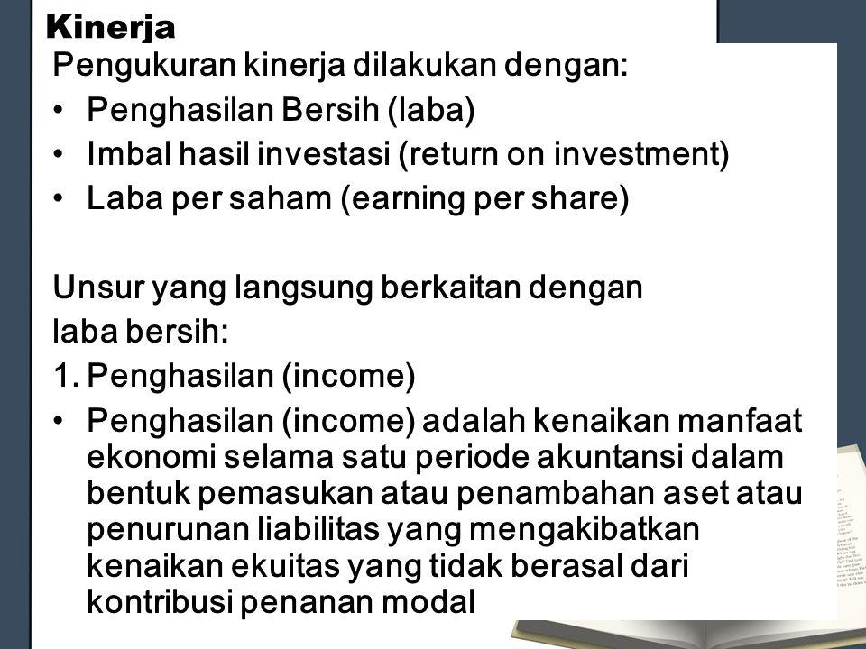 Kinerja Pengukuran kinerja dilakukan dengan: Penghasilan Bersih (laba) Imbal hasil investasi (return on investment)