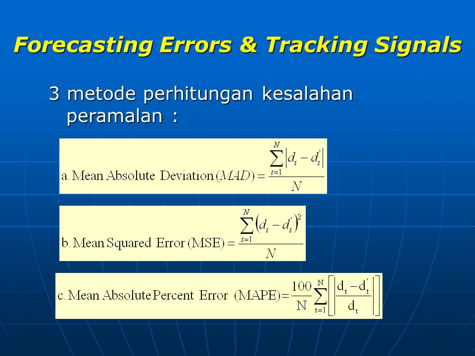 Forecasting Errors & Tracking Signals