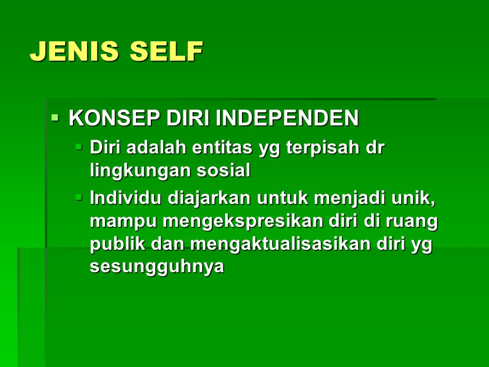 JENIS SELF KONSEP DIRI INDEPENDEN