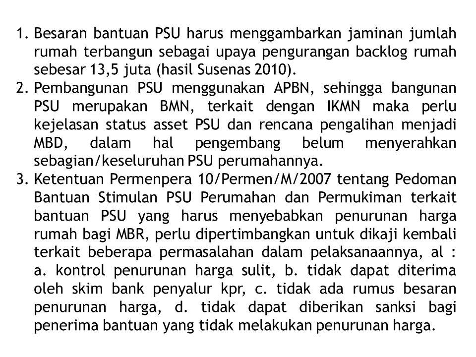 Besaran bantuan PSU harus menggambarkan jaminan jumlah rumah terbangun sebagai upaya pengurangan backlog rumah sebesar 13,5 juta (hasil Susenas 2010).