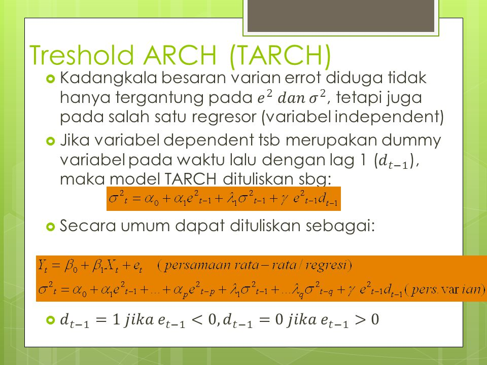 Treshold ARCH (TARCH)
